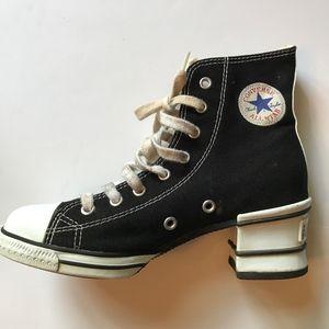 Converse All Star HEELS Hi Tops Black White